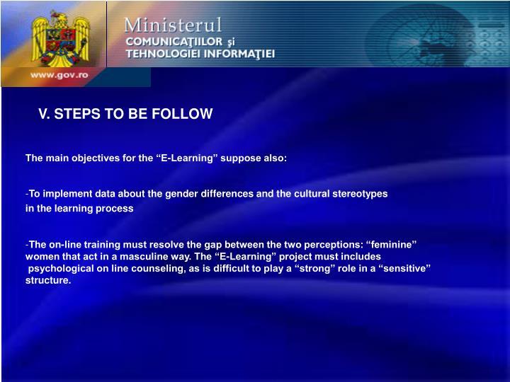 V. STEPS TO BE FOLLOW