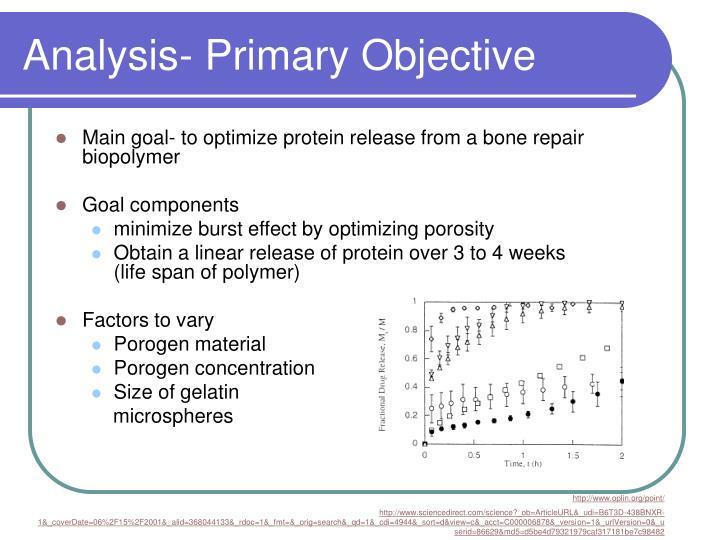 Analysis primary objective