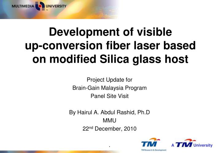 Development of visible up conversion fiber laser based on modified silica glass host