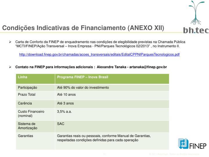 Condições Indicativas de Financiamento (ANEXO XII)