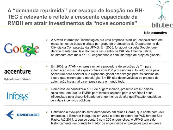 """A """"demanda reprimida"""" por espaço de locação no BH-TEC é relevante e reflete a crescente capacidade da RMBH em atrair investimentos da """"nova economia"""""""