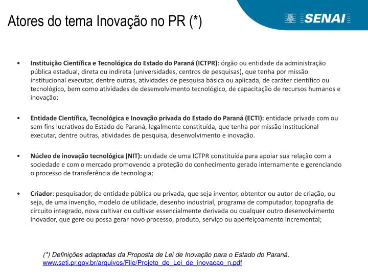 Atores do tema Inovação no PR (*)