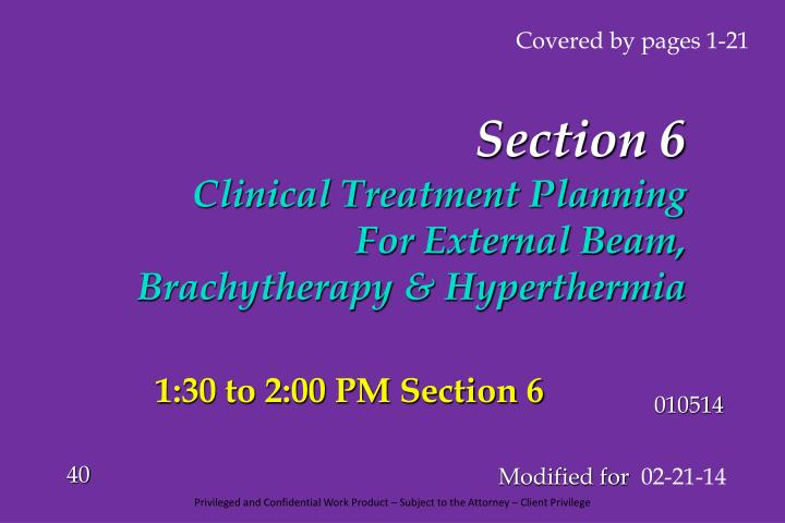 Section 6 clinical treatment planning for external beam brachytherapy hyperthermia