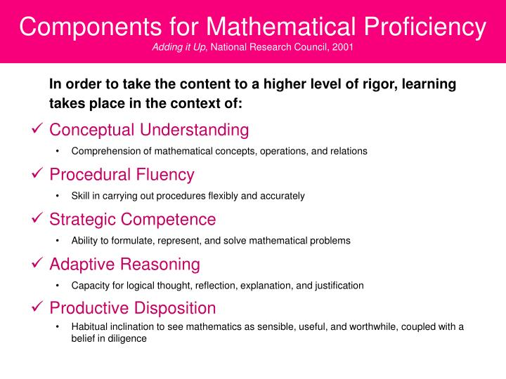 Components for Mathematical Proficiency