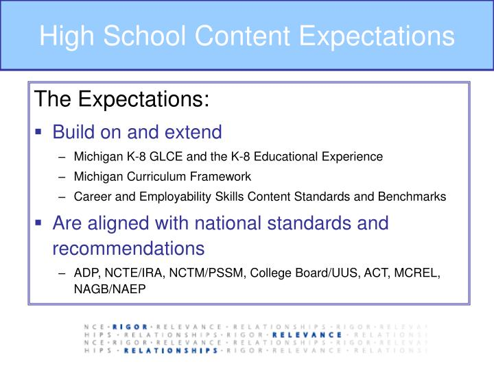 High School Content Expectations