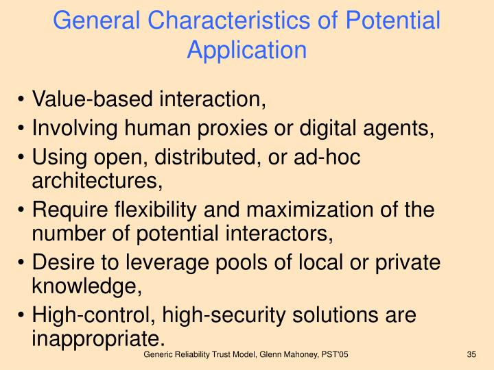 General Characteristics of Potential Application