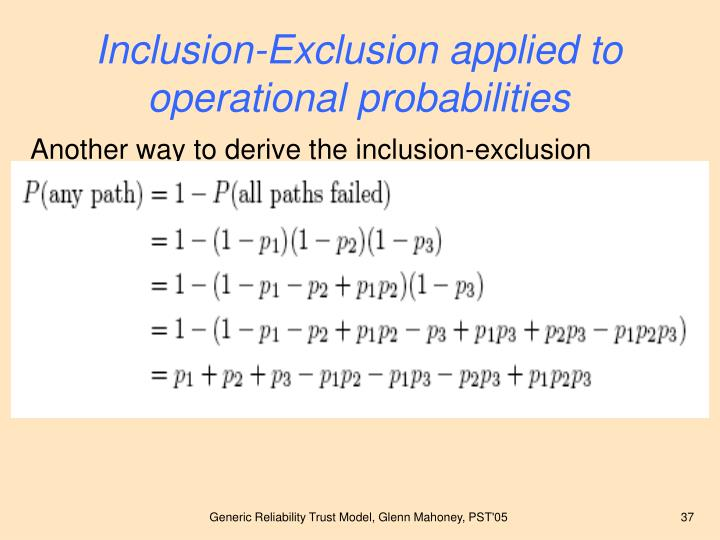 Inclusion-Exclusion applied to operational probabilities