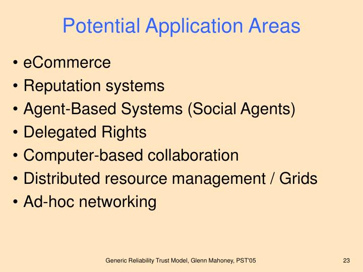 Potential Application Areas