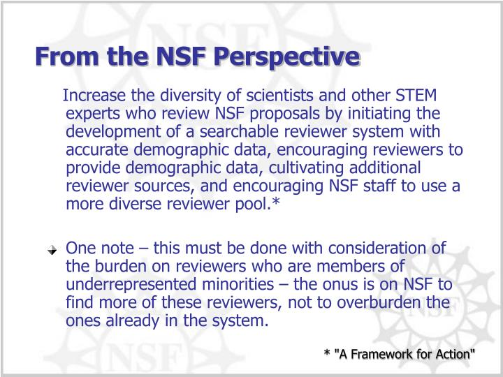 From the NSF Perspective