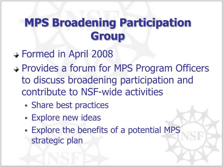 MPS Broadening Participation Group