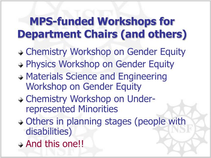 MPS-funded Workshops for Department Chairs (and others)