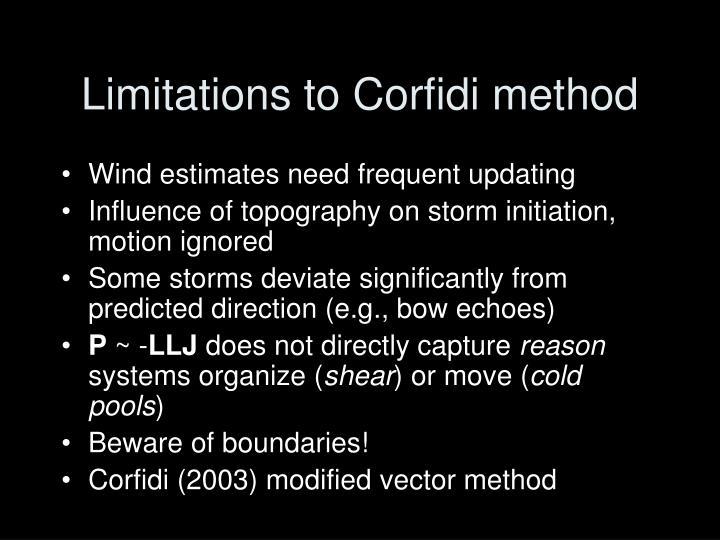 Limitations to Corfidi method
