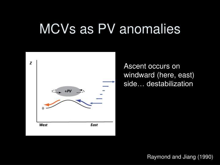 MCVs as PV anomalies