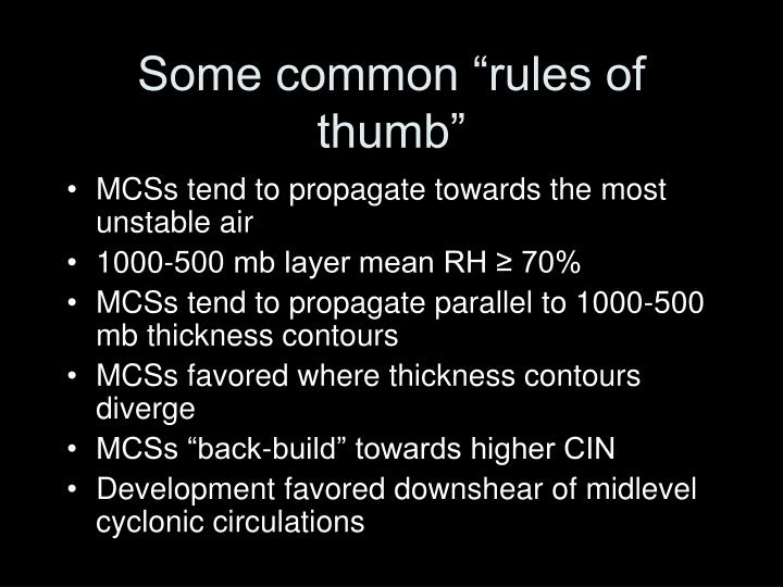"""Some common """"rules of thumb"""""""