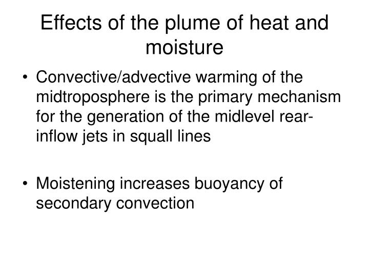 Effects of the plume of heat and moisture
