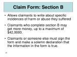 claim form section b