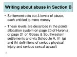 writing about abuse in section b