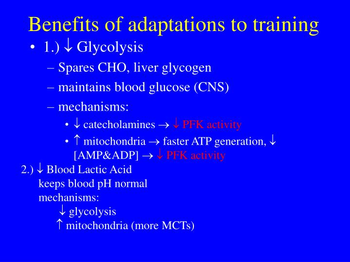 Benefits of adaptations to training