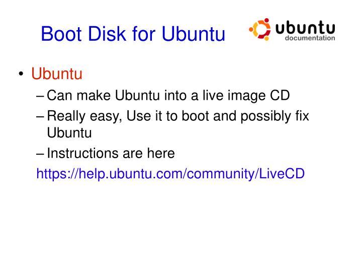 Boot Disk for Ubuntu