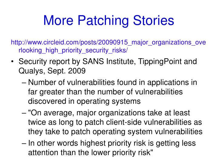 More Patching Stories