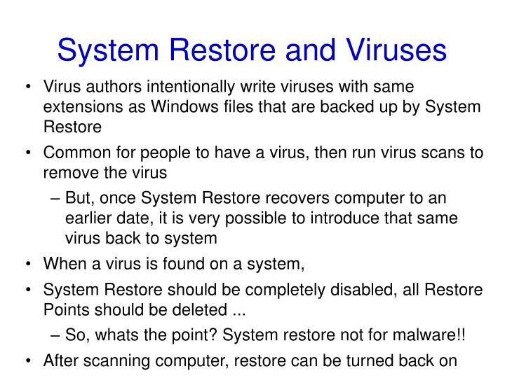 System Restore and Viruses