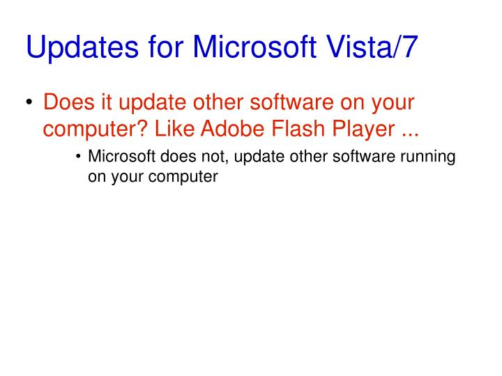 Updates for Microsoft Vista/7