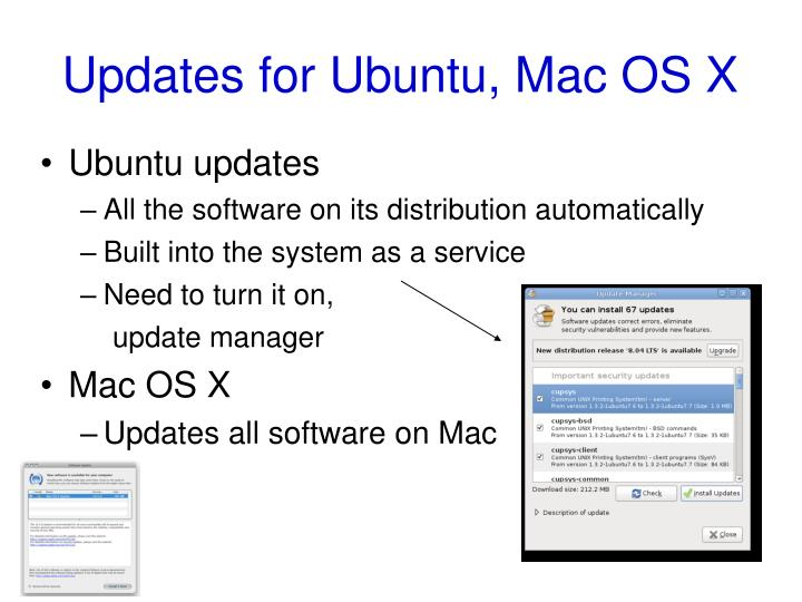 Updates for Ubuntu, Mac OS X