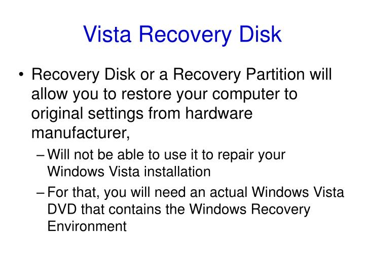 Vista Recovery Disk