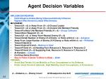 agent decision variables