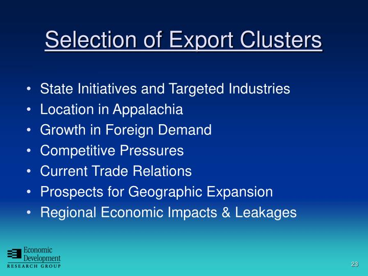 Selection of Export Clusters
