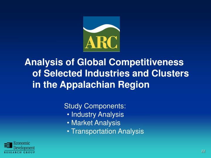 Analysis of Global Competitiveness of Selected Industries and Clusters in the Appalachian Region