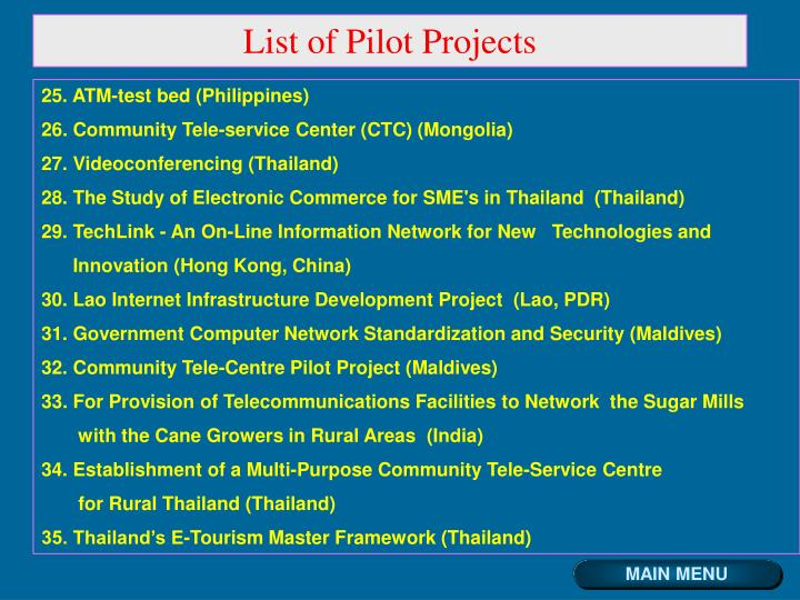 List of Pilot Projects