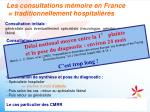 les consultations m moire en france traditionnellement hospitali res