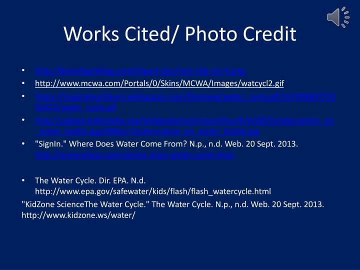 Works Cited/ Photo Credit