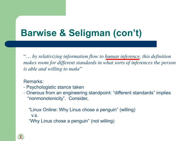 Barwise & Seligman (con't)
