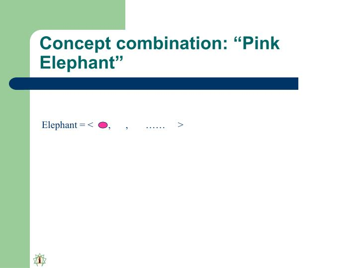 "Concept combination: ""Pink Elephant"""