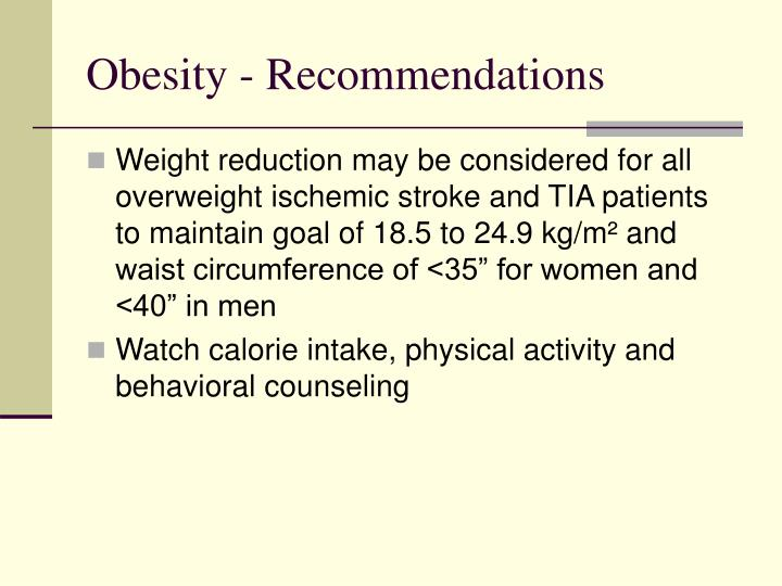 Obesity - Recommendations
