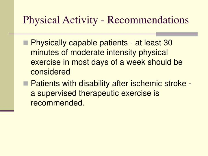 Physical Activity - Recommendations