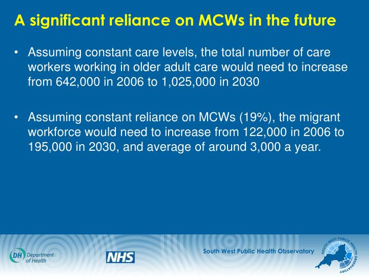 A significant reliance on MCWs in the future
