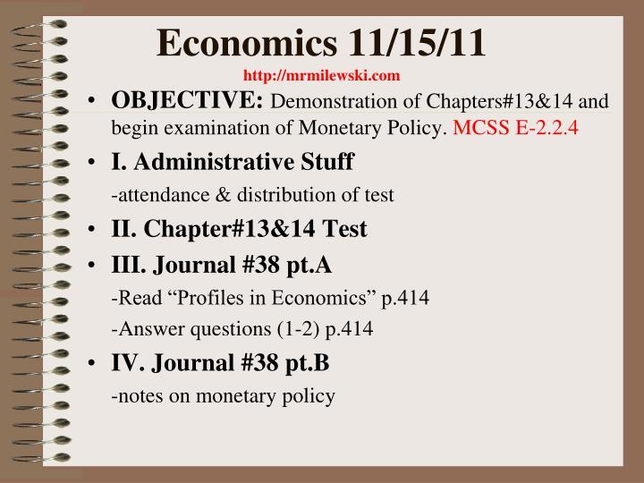 Economics 11/15/11