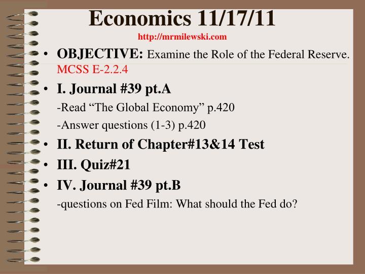 Economics 11/17/11