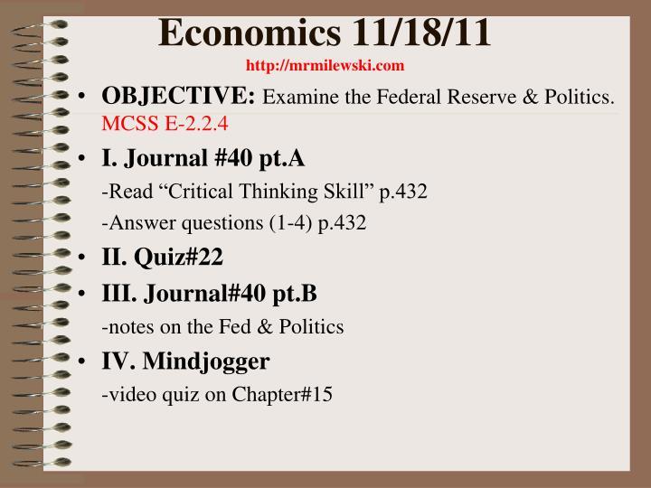 Economics 11/18/11