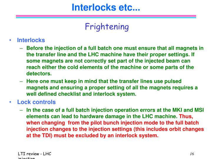 Interlocks etc...