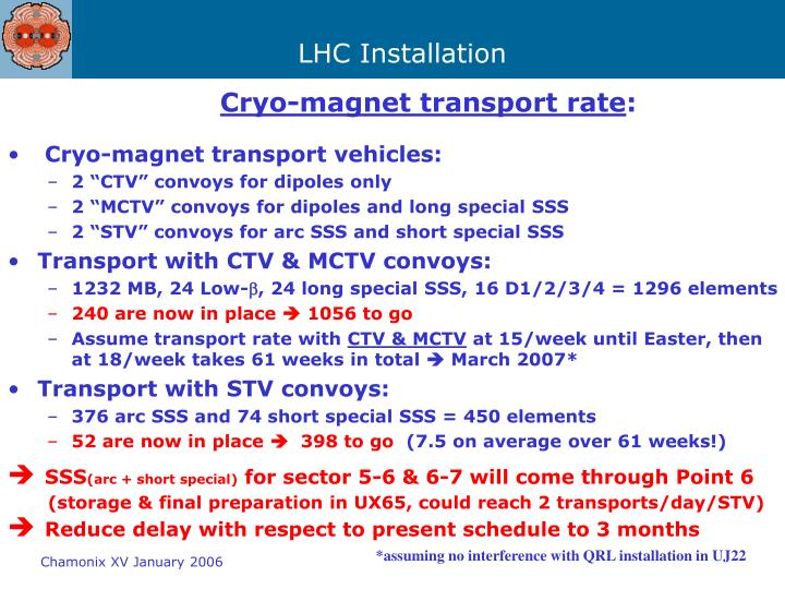 Cryo-magnet transport rate
