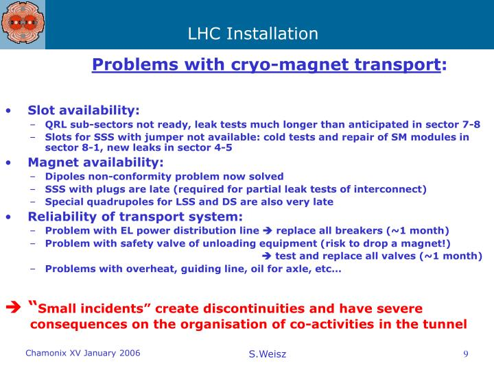 Problems with cryo-magnet transport
