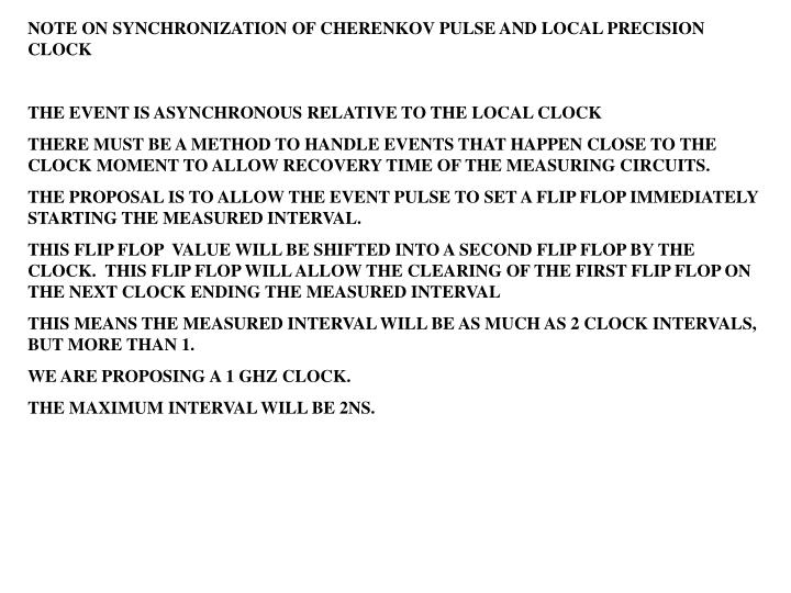NOTE ON SYNCHRONIZATION OF CHERENKOV PULSE AND LOCAL PRECISION CLOCK