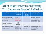 other major factors producing cost increases beyond inflation