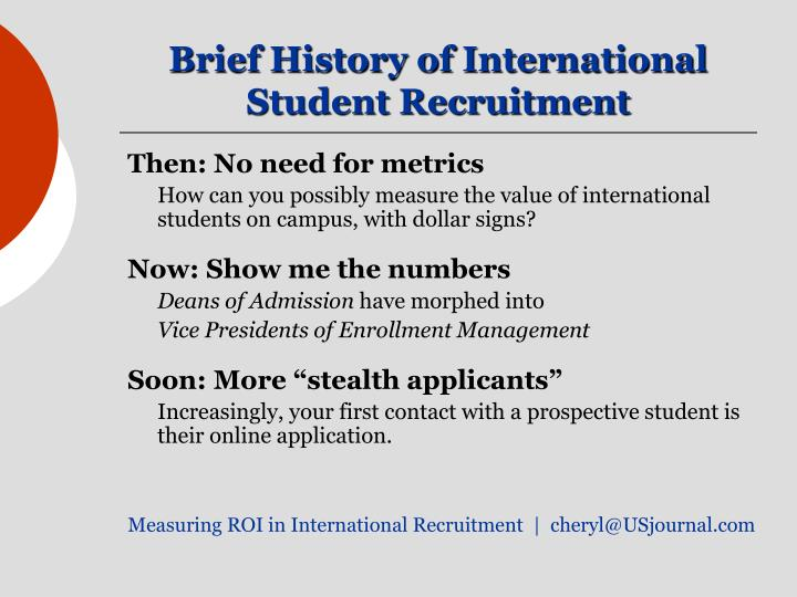Brief history of international student recruitment