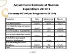 adjustments estimate of national expenditure 2011 122
