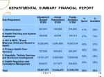departmental summary financial report